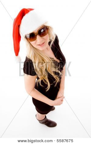 Top View Of Standing Christmas Female With Sunglasses