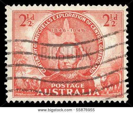 AUSTRALIA - CIRCA 1946: A stamp printed in Australia shows Sir Thomas Mitchell and Map of Queensland, circa 1946