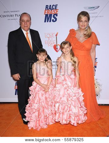 LOS ANGELES - MAY 03:  Nancy Davis & Family arrives to the Race To Erase MS 2013  on May 03, 2013 in Century City, CA