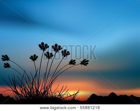 Sunset with dark plant foreground vector