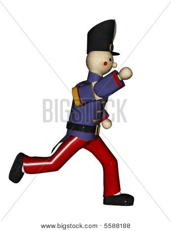 Toy Soldier Blue Uniform Runinng