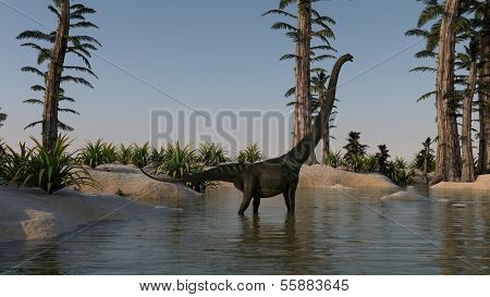 mamenchisaurus near the lake