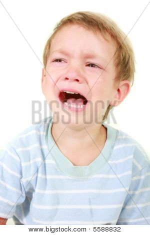 Crying Toddler Boy Over White