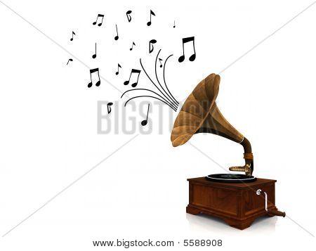 Gramophone Playing Music.