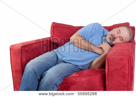 Man Fallen Asleep While Watching Television