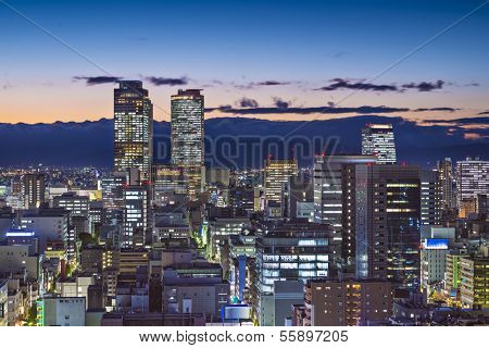 Nagoya, Japan cityscape at twilight.