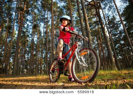 Little Girl With Bicycle In The Forest