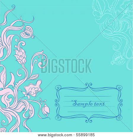 Vector Blue Curl Fowers Invitation Card