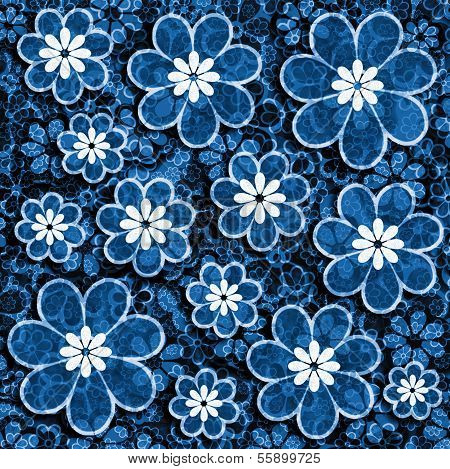 Blue Grunge Flower Scrapbook Paper