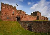 stock photo of bailey  - Carlisle Castle a Norman style motte and bailey fortress built in the eleventh century to secure the northern Border of England from Scottish Invasion - JPG