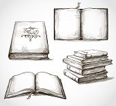 image of piles  - set of old books drawings pile of books open book - JPG