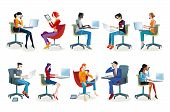 stock photo of secretary  - Set of working men and women sitting in their office chairs - JPG