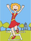 image of hopscotch  - cartoon character of a girl playing hopscotch outdoors on a sunny day - JPG