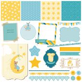 stock photo of dungarees  - Scrapbook Baby Bear Set  - JPG