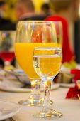 image of diffraction  - Cold drinks on a table vodka and juice - JPG
