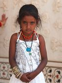 image of nepali  - young Nepali standing  girl in white dress - JPG