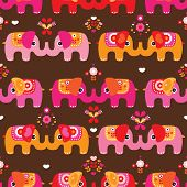 picture of indian elephant  - Seamless indian elephant parade illustration background pattern in vector - JPG