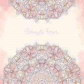 stock photo of oblong  - Vector ornamental round lace pattern - JPG