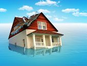 stock photo of real  - House sinking in water  - JPG