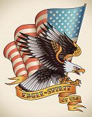 stock photo of eagle  - Bald eagle attacking with the flag of USA on the background - JPG