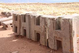 image of pumapunku  - Identical figured blocks of Puma Punku Ruins - JPG