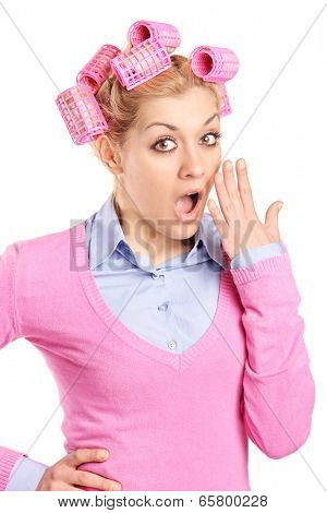 Shocked woman in disbelief gesturing with hand isolated on white background