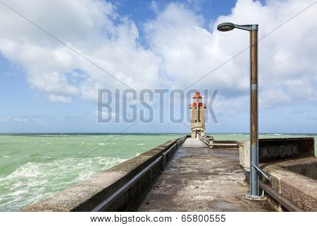Lighthouse at the harbor enrance of Fecamp, Haute-Normandie, France