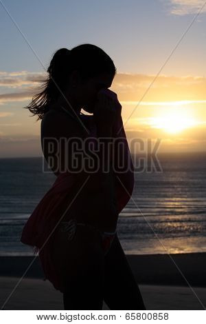 beautiful bikini dressed with a saron young brazilain women in jericoacoara at the sunset ceara state near fortaleza