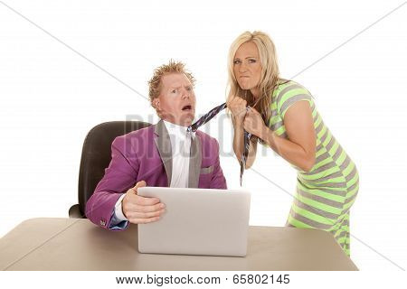 Man Purple Suit Computer Woman Grab Tie Mad