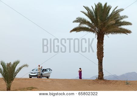 Tourists Are Photographed In An Oasis. View Of The Mountains And Palm Trees.