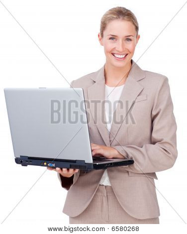 Assertive Businesswoman Using A Laptop