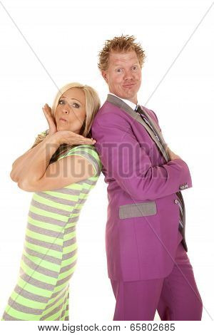 Man Purple Suit Woman Green Dress Stand Funny Face