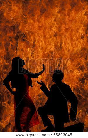 Silhouette Man Kneel Woman Hand Up