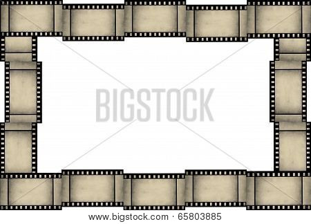 Abstract grunge film strip frame on white background