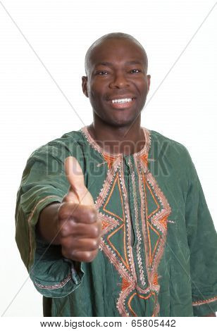 African Man With Traditional Clothes Showing Thumb Up