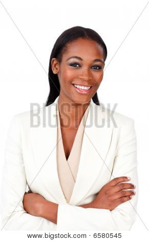 Charismatic Businesswoman With Folded Arms