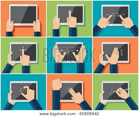 Set of flat hand  icons showing commonly used multi-touch gestures for  touchscreen tablets or smartphones