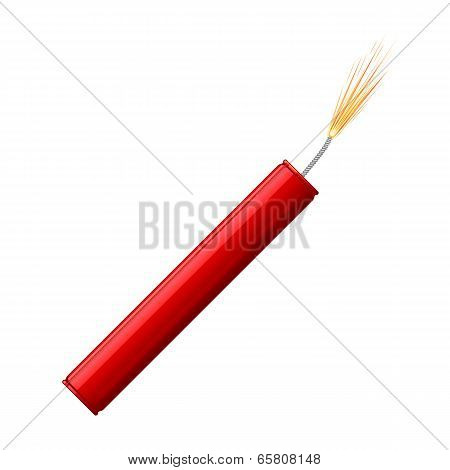 Single Dynamite Stick With Burning Wick