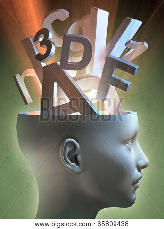 Letters and numbers coming out of an open head. Digital illustration.