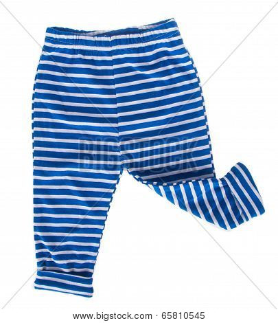 Childrens Striped Pants Isolated On A White Background