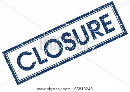 Closure Blue Square Grungy Stamp Isolated On White Background