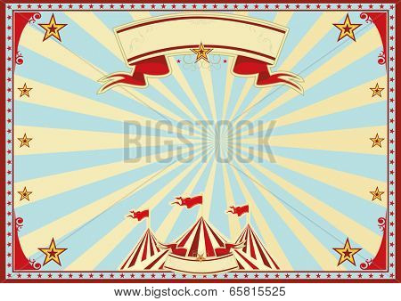 Horizontal blue sunbeams circus. Horizontal circus background for a poster. Ideal background for a screen