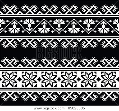 Ukrainian, Slavic seamless folk embroidery pattern on black