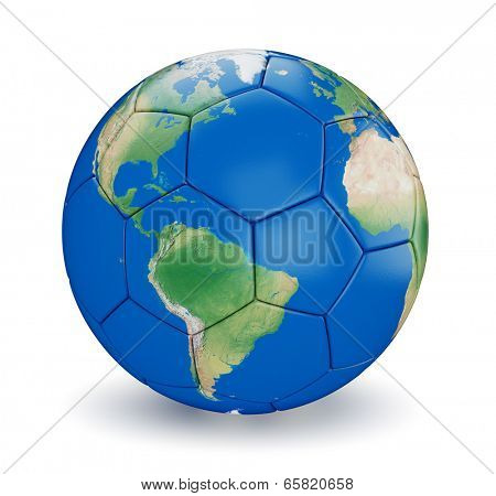 Soccer ball shaped earth world isolated on white background. Map used is computer generated image from http://www.shadedrelief.com and is in public domain