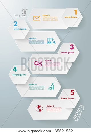 Infographic 5 Options Long Hexagons