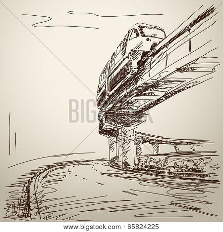 Sketch of monorail train. Hand drawn illustration