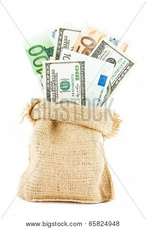 Money dollars and euros in the linen bag