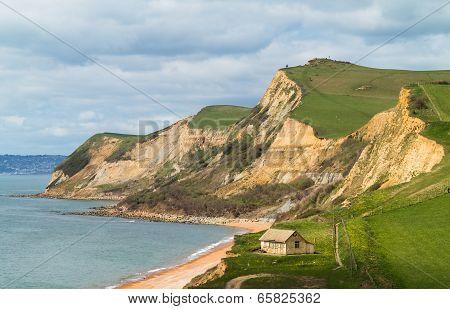 Cottage By Cliffs At West Bay Dorset In Uk