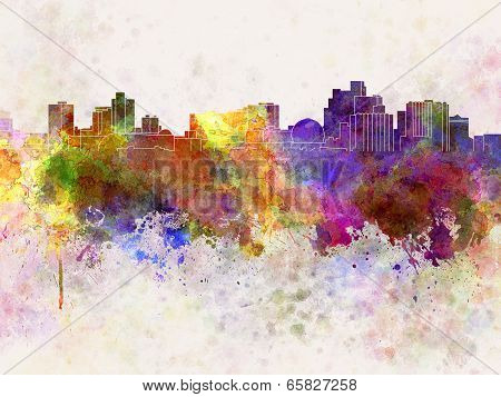 Reno Skyline In Watercolor Background