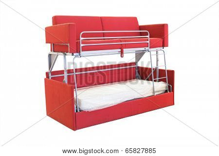 bunk bed under the white background